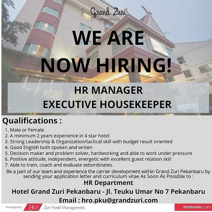 Lowongan Kerja Hotel Grand Zuri Pekanbaru September 2020 Karir Riau