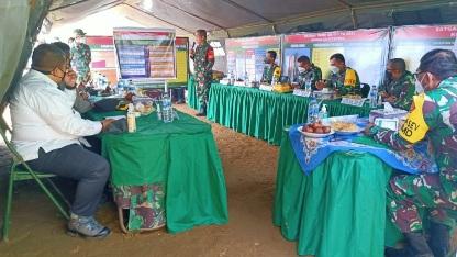 Memaparkan Kegiatan Non Fisik Penyuluhan Penularan Covid dan Prokes ke Tim Masev TNI AD