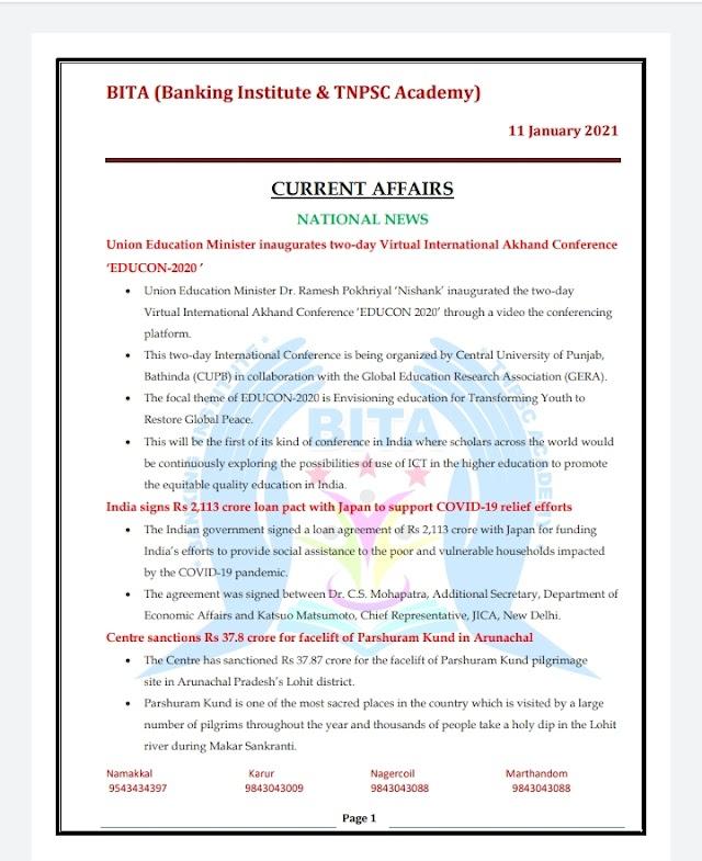 Banking Exam - Today Current Affairs  BITA Academy  ( 11 -  January  2021 )