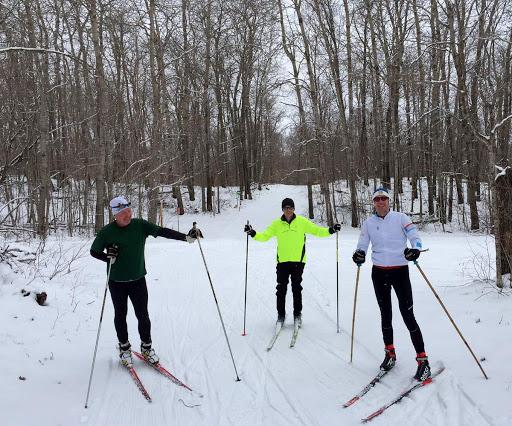 Friday morning skiers Denny, Joe and Peder enjoying late season fresh snow and grooming.