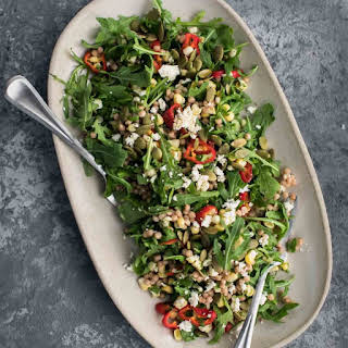 Sweet Corn Couscous Salad with Arugula.