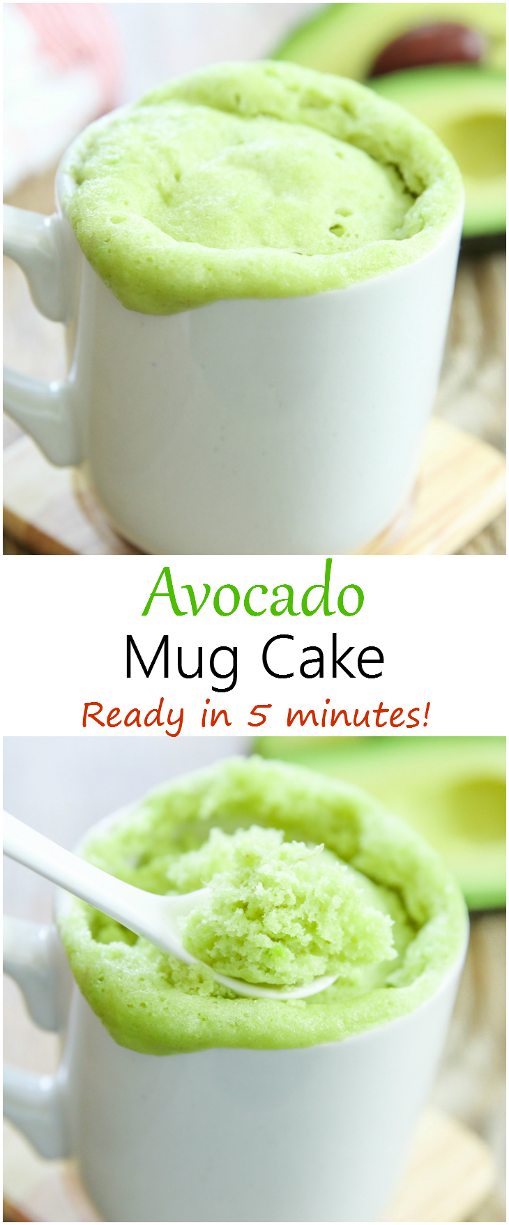 avocado mug cake photo collage