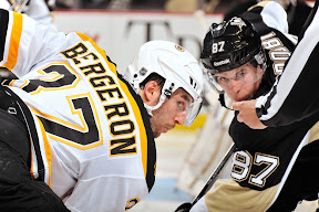 Patrice Bergeron and Sidney Crosby are set to take a faceoff