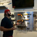 Dan reviewing the guns at lock & load Miami in Miami, Florida, United States