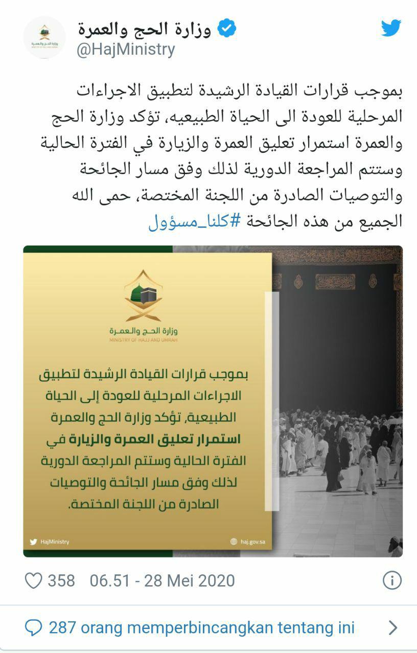 70 Hari 98 Ribu Lebih Masjid Ditutup di Arab Saudi