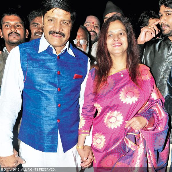 Srihari and Shanthi arrive to attend the wedding reception party of Naveen and Varsha, held recently in Hyderabad.