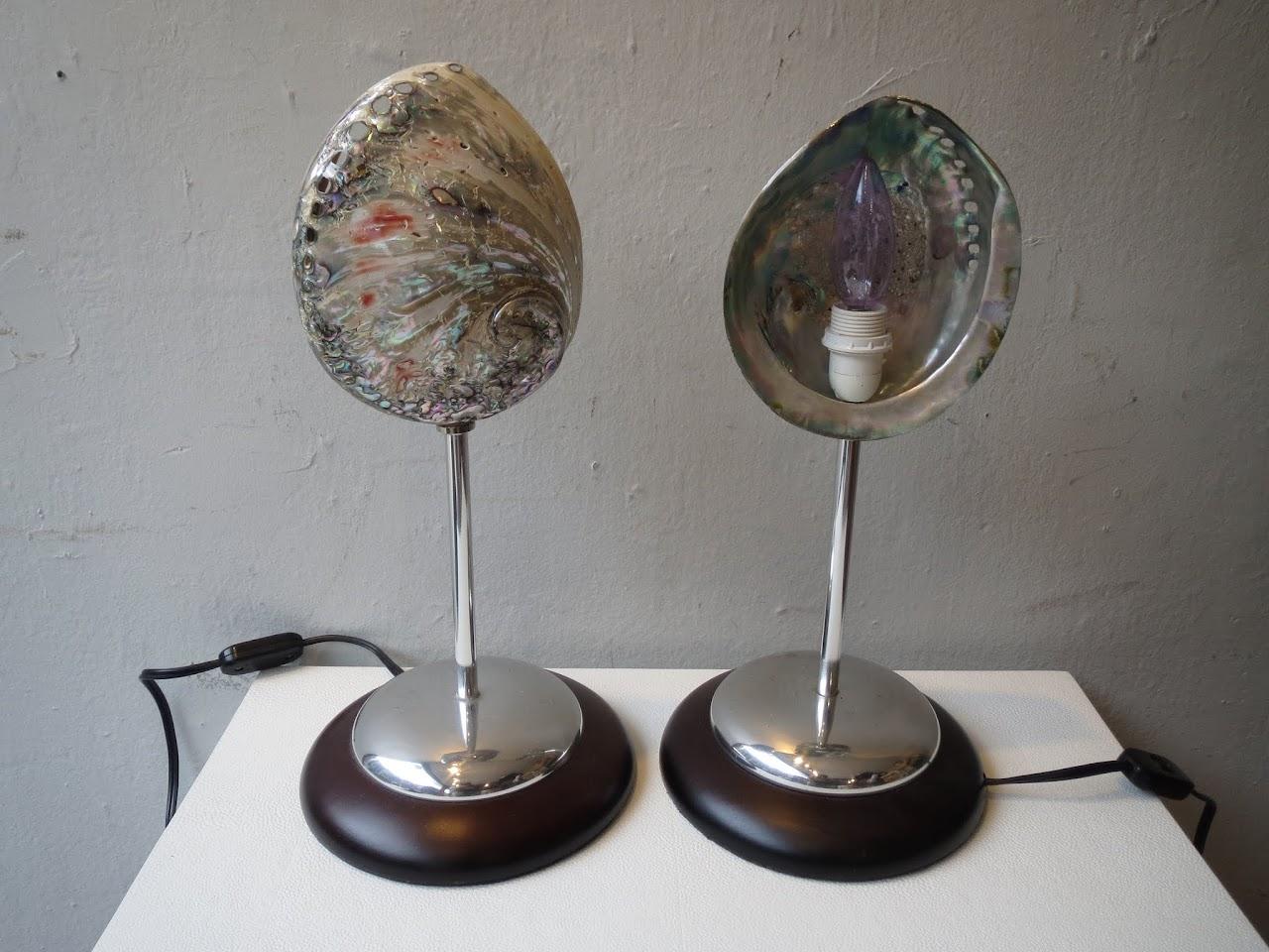 Abalone Shell Lamp Pair