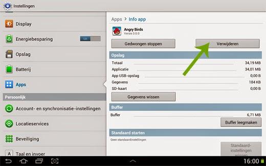 Android App verwijderen van smartphone of tablet