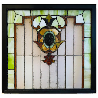 Architectural Salvage Leaded Stained Glass Window