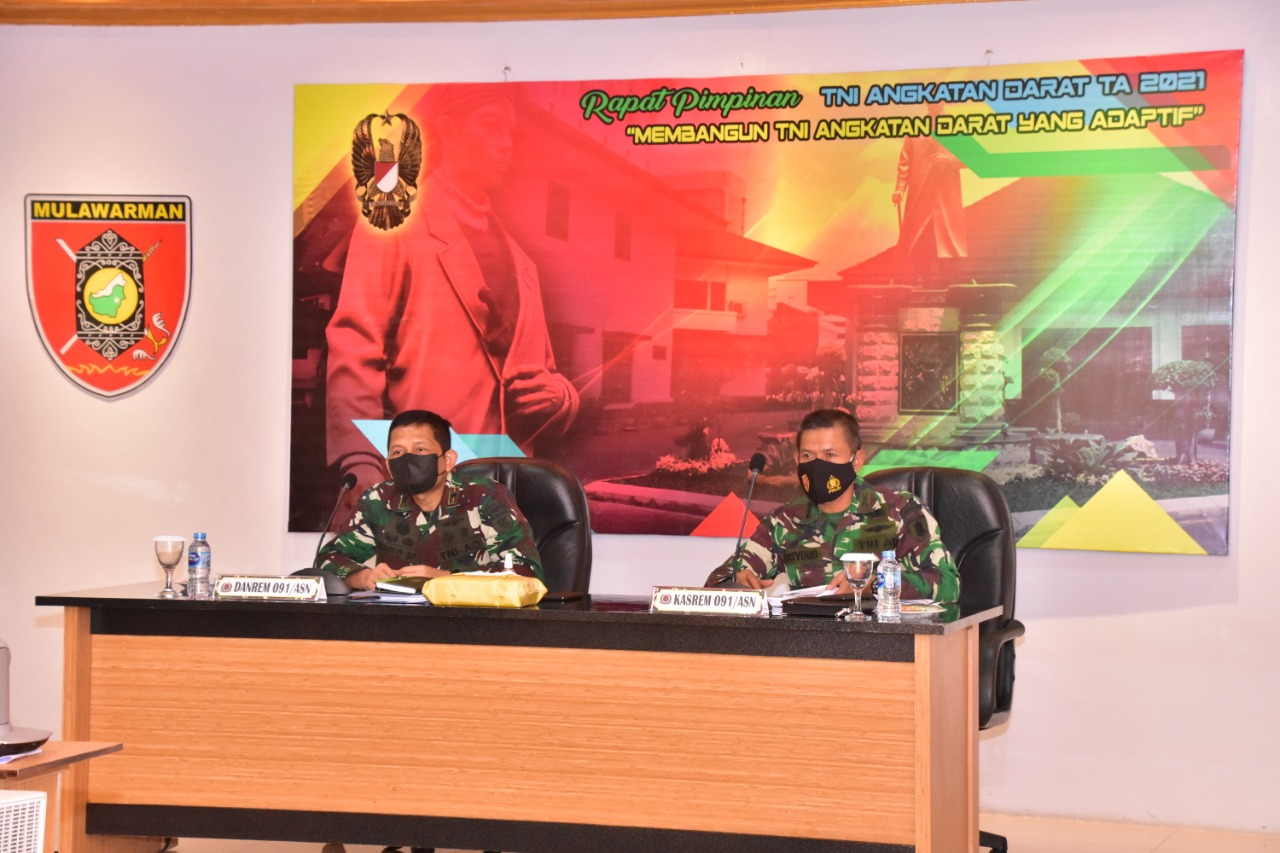 Danrem 091/ASN Rapim TNI AD TA. 2021 secara Virtual, Dipimpin Kasad