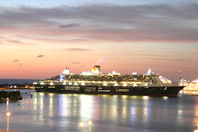 Queen Mary 2 arriving at Port Everglades early in the morning