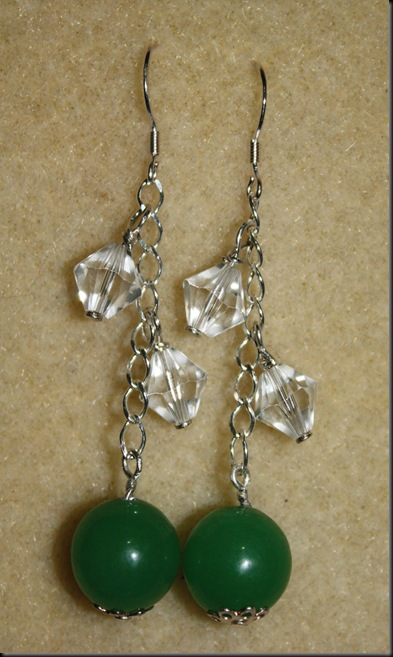10 mm Adventurine  set in sterling silve with swaroski crystals