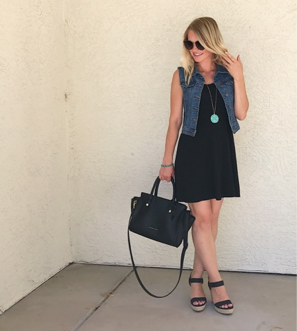 Thrifty Wife, Happy Life || Summer Wardrobe Favorites- Black sundress with denim vest