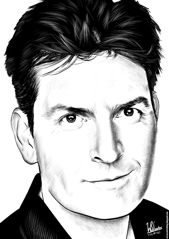 Ink drawing of Charlie Sheen, using Krita 2.4.