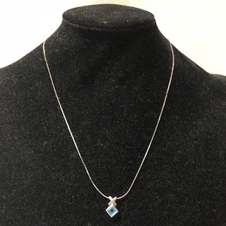 14K White Gold and Stone Pendant Necklace