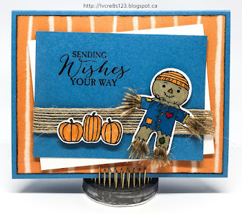 Linda Vich Creates: September Projects for Stamping Group. Cookie Cutter Halloween scarecrow graces the front of this fall-themed card.