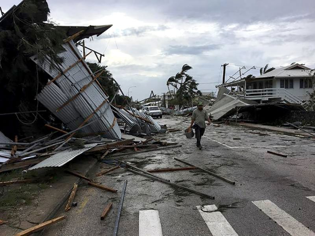 Flooding and damage in Tonga's capital of Nuku'alofa after Cyclone Gita hit the country, 13 February 2018. Photo: John Pulu / AFP Photo