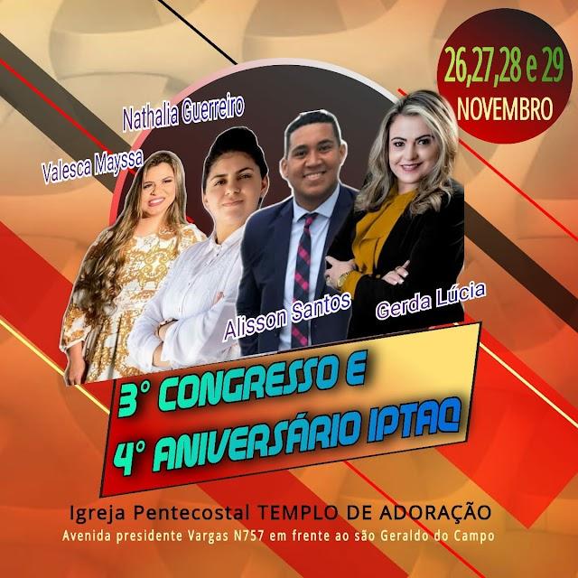 Alison Santos e Valesca Mayssa estaram no terceiro aniversário da igreja pentecostal templo de adoração em Quixadá