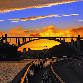 Going anywhere by Malinov Photography - City,  Street & Park  Street Scenes ( sunset, colors, street, bridge, portugal, porto, city )