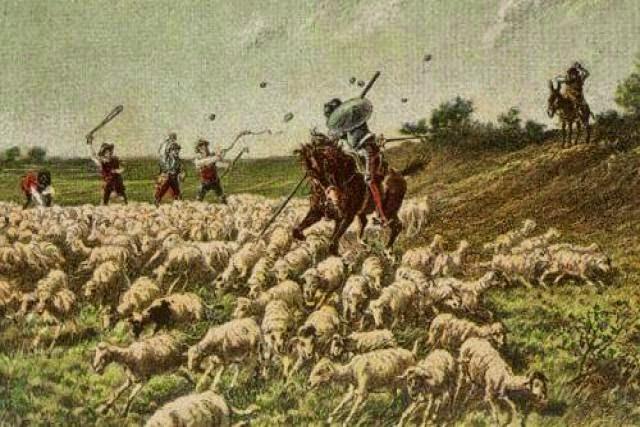 Don Quijote ataca al rebaño de ovejas y recibe las pedradas de los pastores