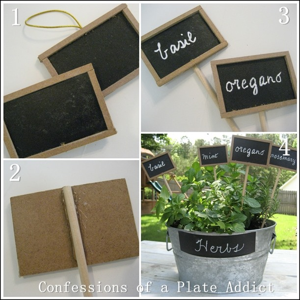 CONFESSIONS OF A PLATE ADDICT DIY Chalkboard Plant Markers tutorial