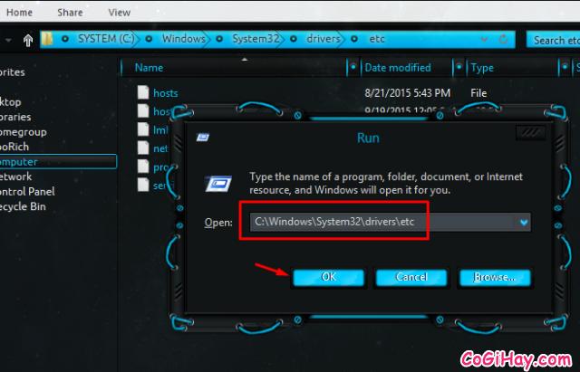 mở thư mục etc chứa file host