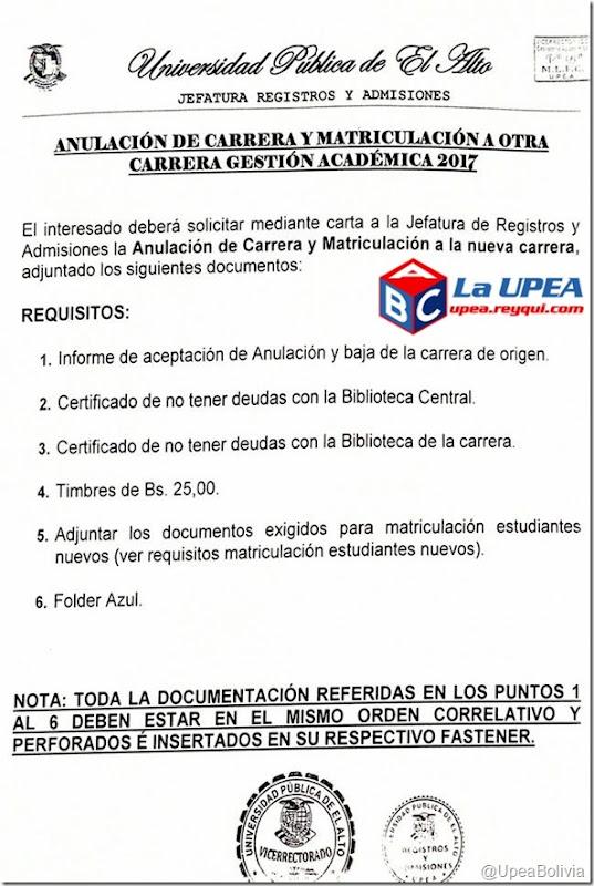Matriculación UPEA 2017