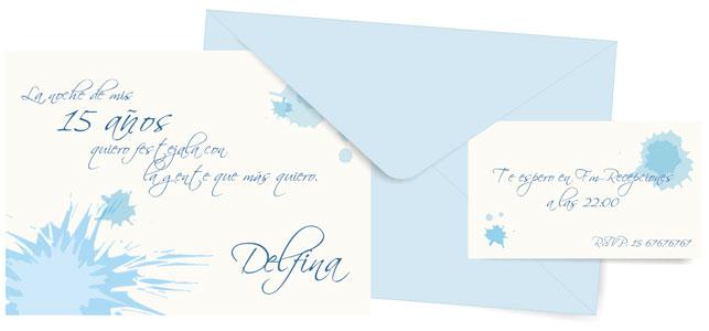 Invitación azul cielo para quinceañera