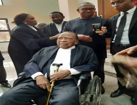 88-Year Old Ben Nwabueze storms court on Wheelchair, Leads Atiku, PDP's Legal Team As Hearing Begins