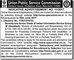 UPSC Advertisement No.11-2017 www.indgovtjobs.in