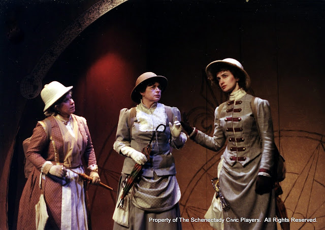 Christine Boice Saplin, Rita Russell and Eileen and Eileen McCashion in ON THE VERGE - January/February 2000.  Property of The Schenectady Civic Players Theater Archive.