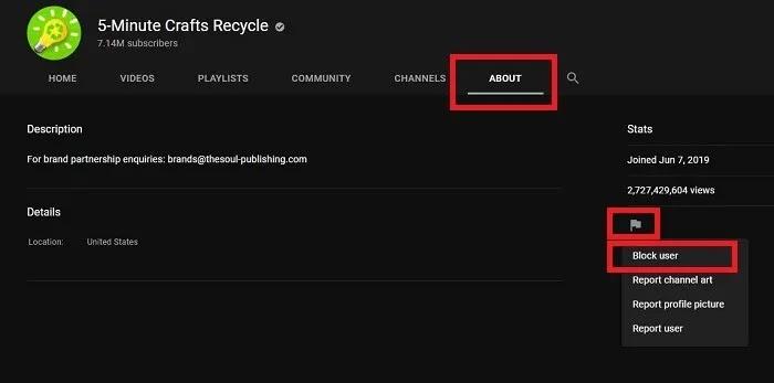 حظر قنوات يوتيوب