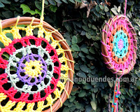 Mandala al crochet. Hilo 100% de algodón. Variedad de colores y combinaciones. www.tirnanogduendes.com.ar