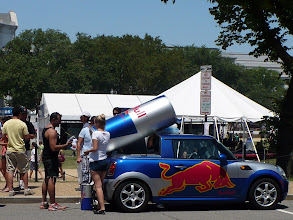 Photo: Red Bull showed up just in time with ice-cold free samples, but paid little attention to the parking rules.