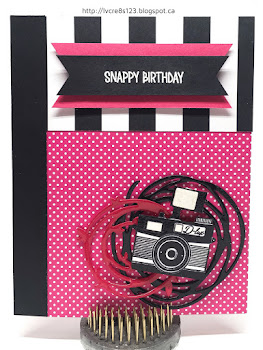 Linda Vich Creates: Color Blocking and Pun Intended. Pop of Pink papers add some real pizzazz to this color blocked card, complete with camera in a nest of glossy swirls.