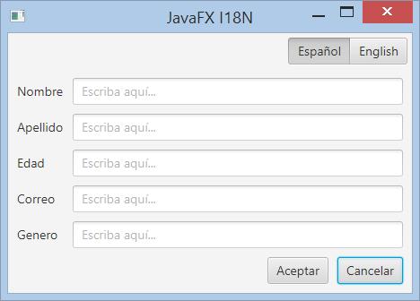 Aplicación JavaFX en español e inglés