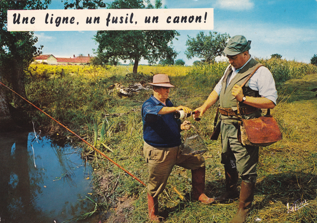 Cartes Postales Pop et Kitsch des années 50, 70 et 70 - Pop and kitsch vintage postcards from the fifties, the sixties and the seventies : Une ligne, un fusil, un canon !