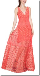 Coral maxi dress with shorter lining