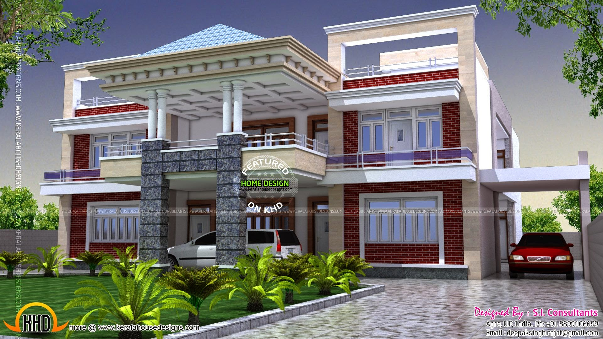North indian luxury house kerala home design and floor plans for Front view of duplex house in india