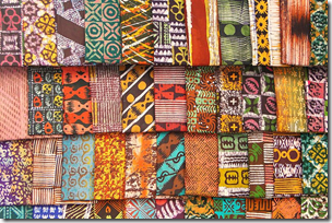 Kente (Batik) Cloth in Market - Kumasi - Ghana