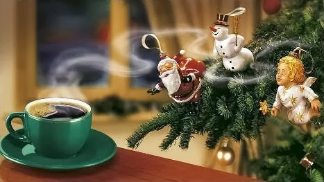 Sfondi di Natale caffè caldo albero di natale