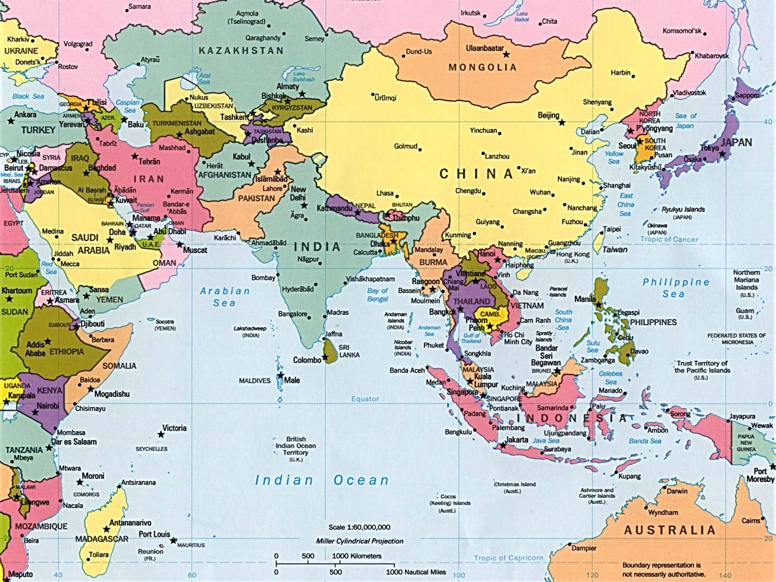 Historia Mapa fsico y poltico de Asia
