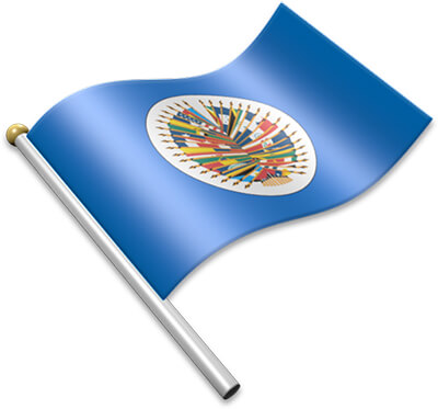 The OAS flag on a flagpole clipart image