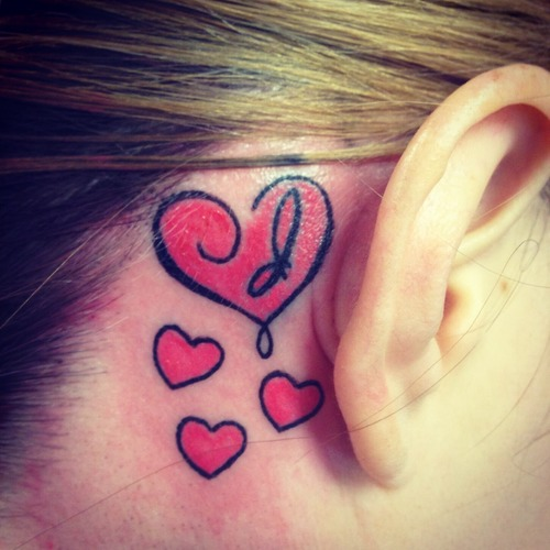 55 best ear tattoos designs and ideas for Heart tattoo behind ear