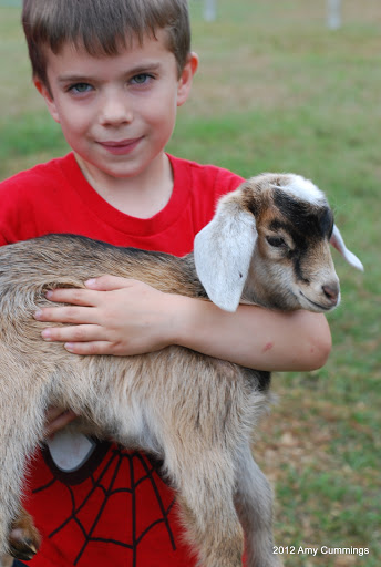 Ian holding a baby goat