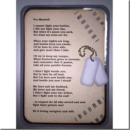written to a wounded veteran by his wife and caregiver