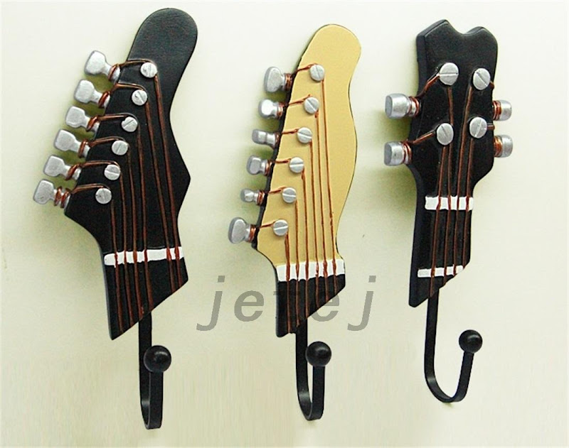Vintage 3 pcs guitar heads music home resin clothes hat for Creative clothes hangers