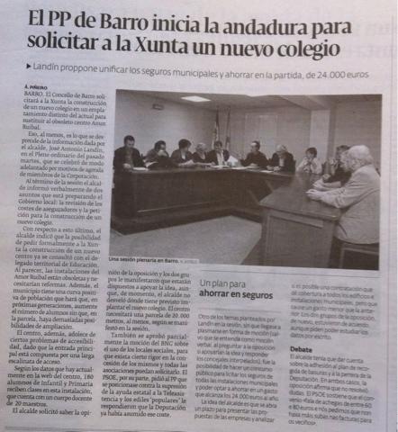 El PP de Barro inicia la andadura para solicitar a la Xunta un nuevo colegio