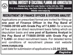 NUEPA Advertisement 2016 www.indgovtjobs.in