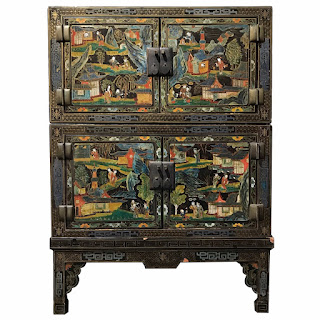 Chinese Turn of the Century Stacked Lacquer Cabinet